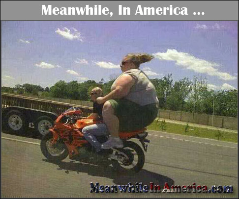 Beer Battered Bacon?! Lord Have Mercy!   giant fat broad on motorcycle Meanwhile In America