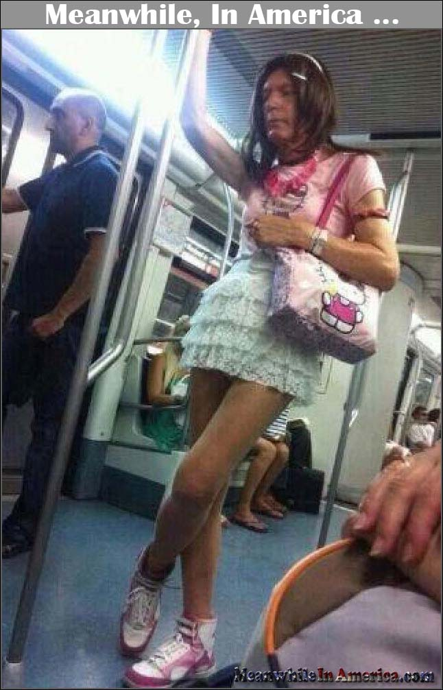 WTF IS This Creature?!   tranny hello kitty subway Meanwhile In America