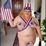 Beer Battered Bacon?! Lord Have Mercy!   fat girl patriotic bikini Meanwhile In America 150x150c